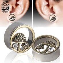 Aço inoxidável forma de cogumelo bonito orelha túnel tampões de parafuso calibres expansor orelha expansor reamer septo hélice piercing