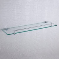 19 7 Inches Single Glass Shelves Kit Polished Chrome Wall Mount Rectangular Hardware Bathroom Accessories Glass