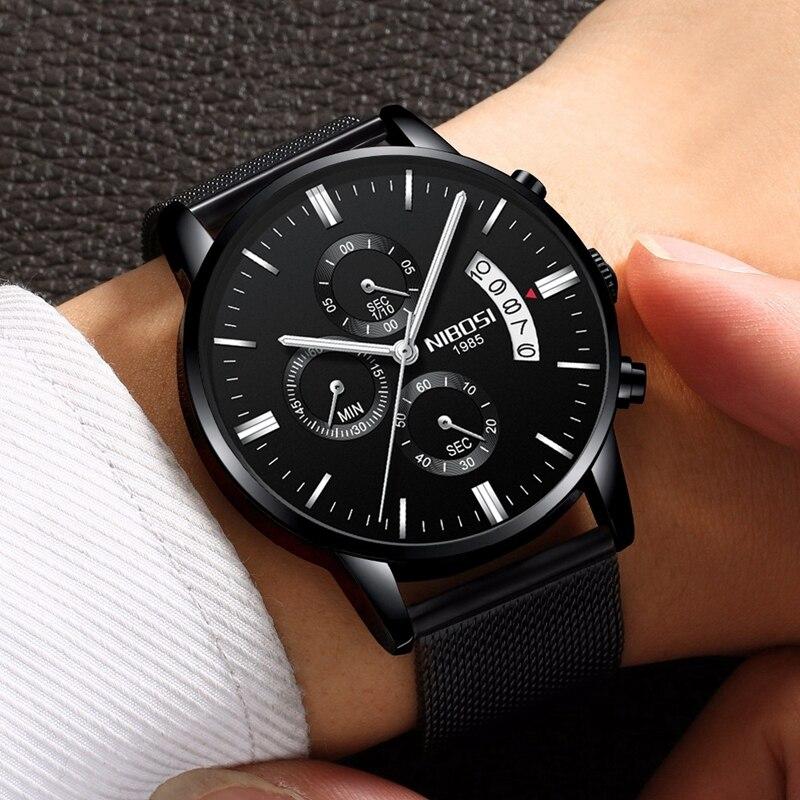 NIBOSI Men Watch Chronograph Sport Mens Watches Top Brand Luxury Waterproof Full Steel Quartz Gold Clock Men Relogio Masculino 3