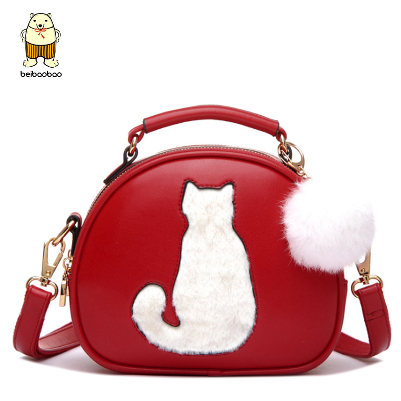 Beibaobao 2017 Lovely Ladies Shoulder Bag Cat Pattern Fur Ball Design Women Trends Round Messenger Bags Tote B001