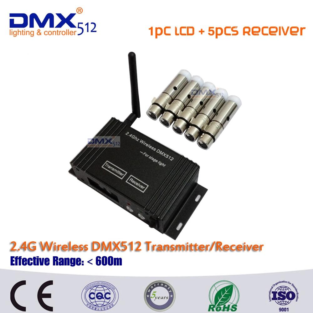 DHL Free Shipping DMX512 wireless LCD Display cable transmitter receiver 2.4GHz XLR DJ Lightning Controller+5pcs MINI Receiver