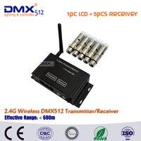 Dhl free verschiffen dmx512 wireless lcd display kabel sender empfänger 2 4 ghz xlr dj blitz controller + 5 stücke mini empfänger-in Bühnen-Lichteffekt aus Licht & Beleuchtung bei