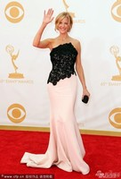 2014 Red Carpet Black And Pink Lace Mermaid Anna Gunn Breaking Bad Emmy Awards Long Evening Dress Prom gown Celebrity dress