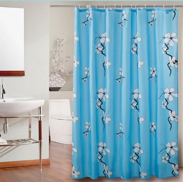 Flowers bloom thick waterproof mildew thick polyester shower curtain ...