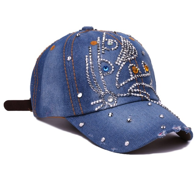 Women Baseball Caps Cute With Rhinestones Girls Casual Hat Crystal