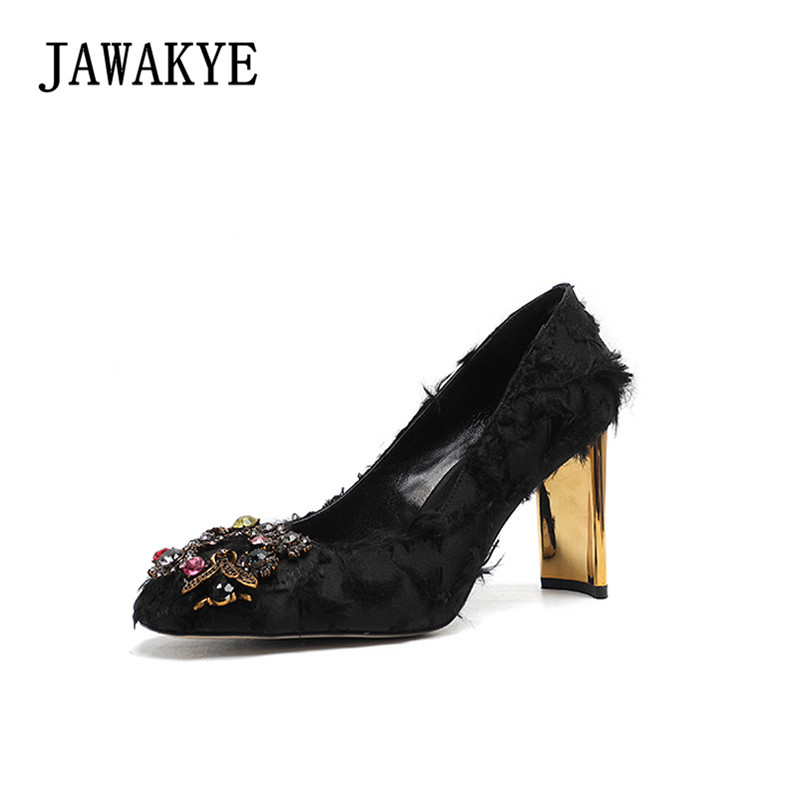New Elegant brand high heel Shoes Woman Black Pink special Chunky Heel Crystal Women Pumps Female ladle shoes Wedding shoes