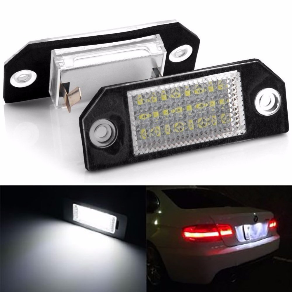 1 Pair Car LED License Number Plate Light Lamp 6W 12V 24 LED for Ford Focus 2 C-Max Car Styling License Palte Lights Lamps  цена и фото