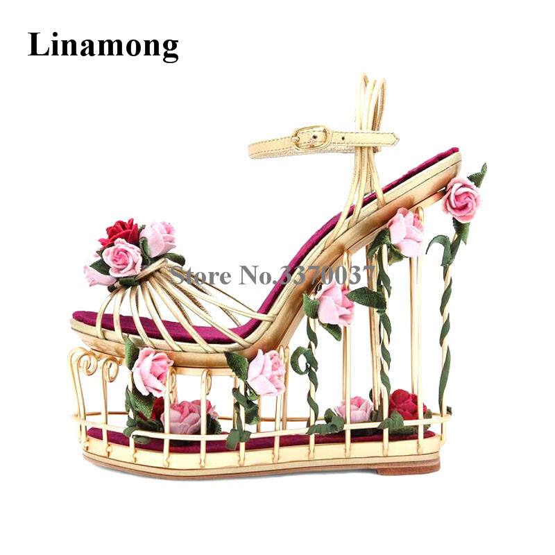Femmes Unique en métal en cage Design sandales compensées à plateforme haute découpe fleurs décoration bride à la cheville Super sandales hautes compensées