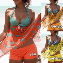 0e2f562497 Padded Halter Printed Asymmetric Hem Tankini Set Plus Size Swimsuit Mesh  Polka Dot Swimdress Vintage Retro