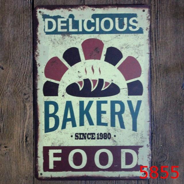 Bakery Barang Dapur Makanan Lukisan Poster Vintage Logam Timah Tanda Antik Besi Bar Cafe Pub