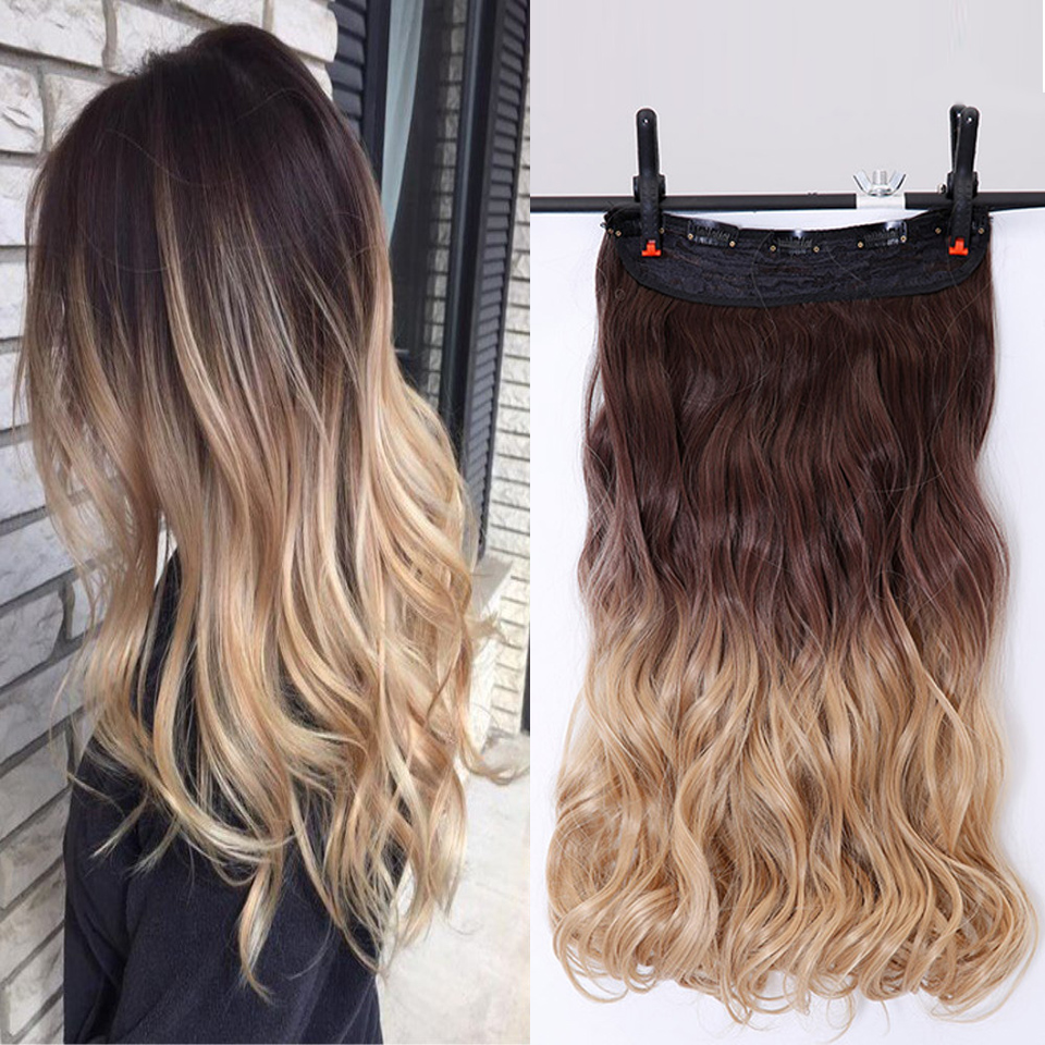 Hot Sale Aosiwig 24inch 5 Clips Wavy Hair Extentions Clip In On Hair