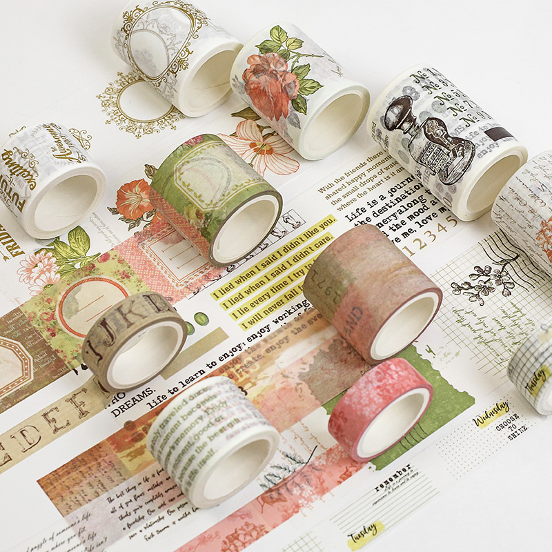 Flower Border Letter Theme Washi Tape DIY Crafts Wrapping People Adhesive Stickers Scrapbooking Gift Tapes