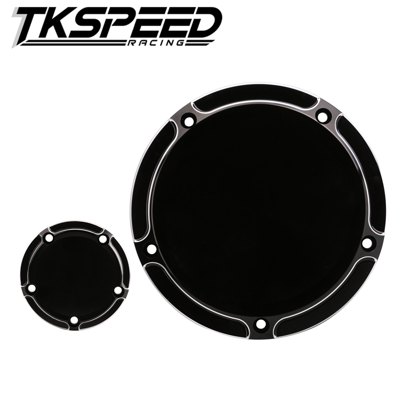 FREE SHIPPING Derby Cover and Synchronization Cover Timer For Motorcycle CNC All Black CNC Bevel Styling