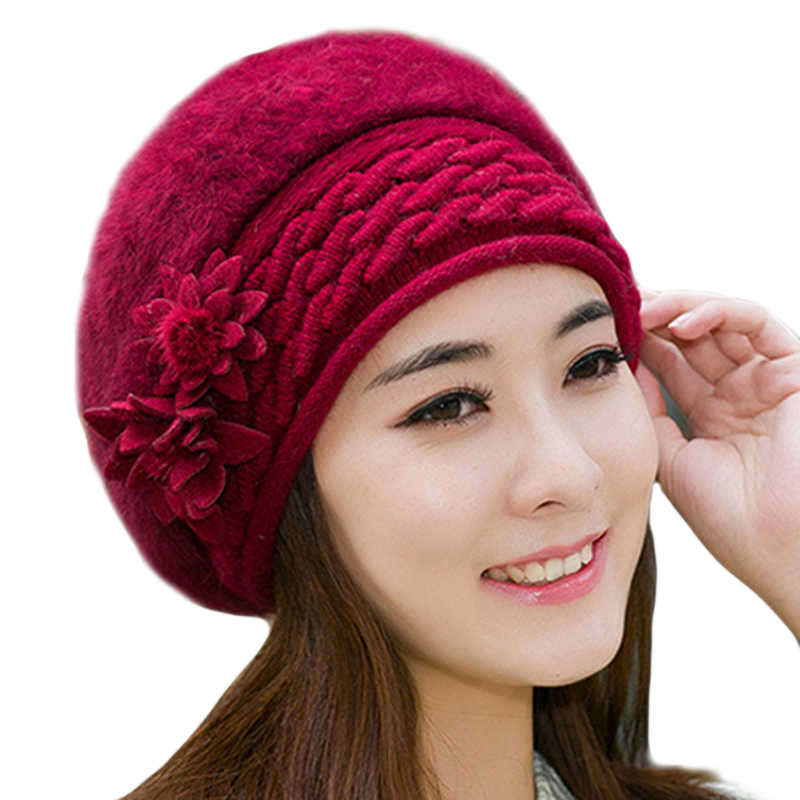 ... Women Beret beanie caps Knitted Hat Ladies winter hats for women Faux  Rabbit Fur bonnet femme ... a70ae2c1263