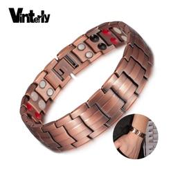Vinterly Pure Copper Bracelet Men Energy Germanium Magnetic Bracelet Copper Vintage Hologram Chain & Link Bracelets for Men 2018