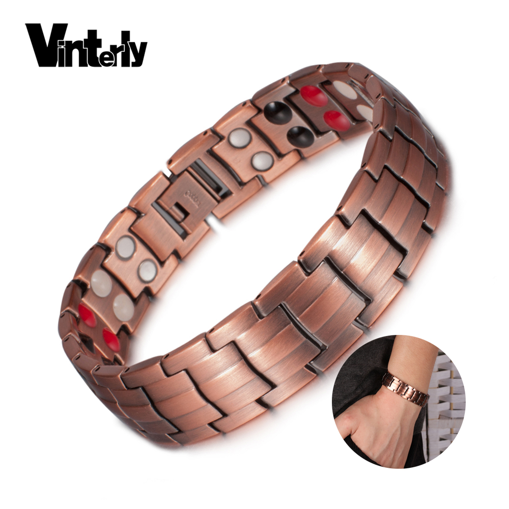 Vinterly Reinem Kupfer Armband Männer Energie Germanium Magnetische Armband Kupfer Vintage Hologramm Kette & Link Armbänder für Männer 2018