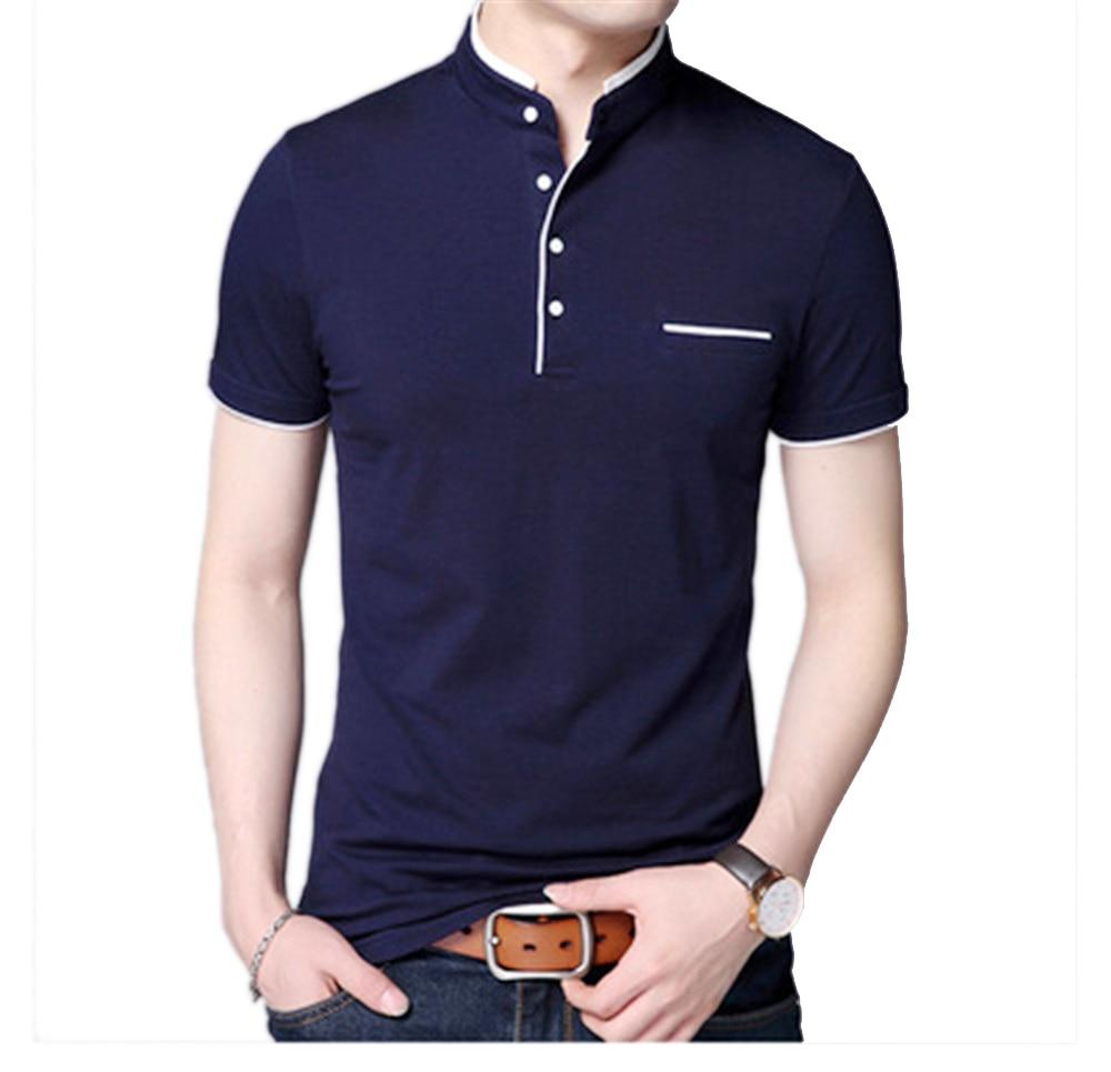 Short Sleeve   T     Shirt   Men Tshirt 2019 Spring Mandarin Collar Tops Black White Brand Clothing Slim Fit Cotton   T  -  Shirts   Poloshirt