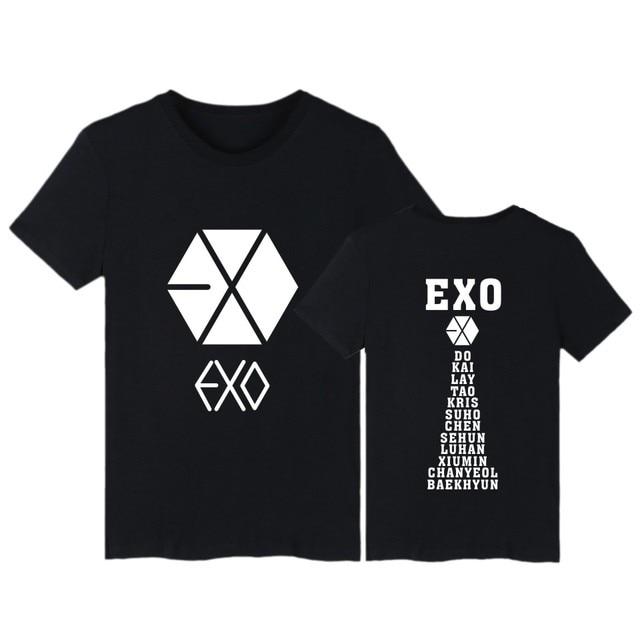 EXO camisetas con estampado de letras camiseta para mujer Harajuku manga  corta Camiseta cuello redondo Mujer 3290cf1a08c