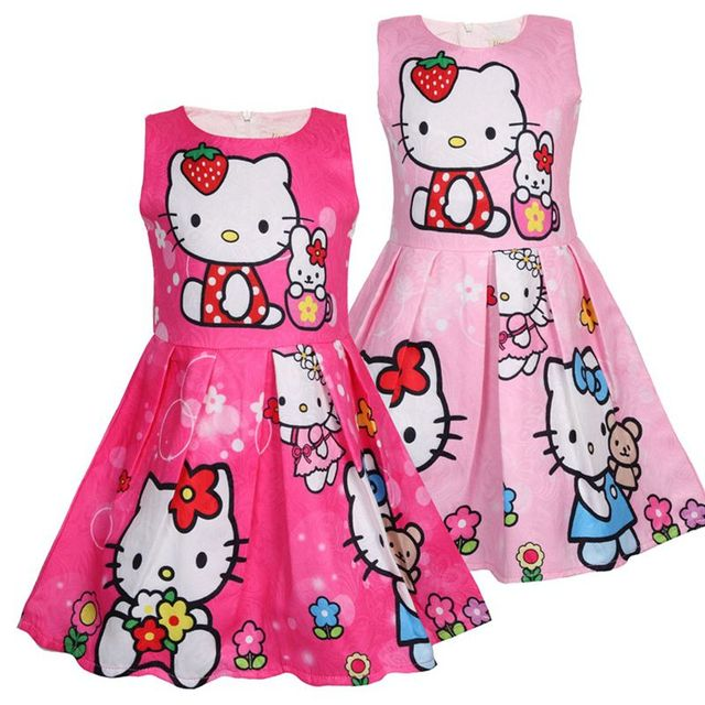 a4d9751e8285e US $13.5 |Baby Girls Hello Kitty Dress 2018 Kids Princess Dresses For Girl  Toddler Summer Clothes Children Kitty Dress-in Dresses from Mother & Kids  ...