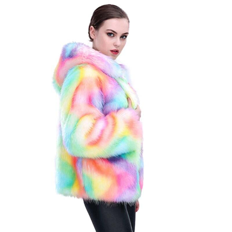 COZARII Harajuku Arc-En-veste femmes d'hiver vêtements manteau fausse fourrure vestes coupe-vent chaud streetwear complet manches avec capuche