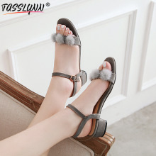 TASSLYNN 2019 elegant lady Sandals Women Open Toe buckle Strap Square Low Heels Summer Shoes big size34-43