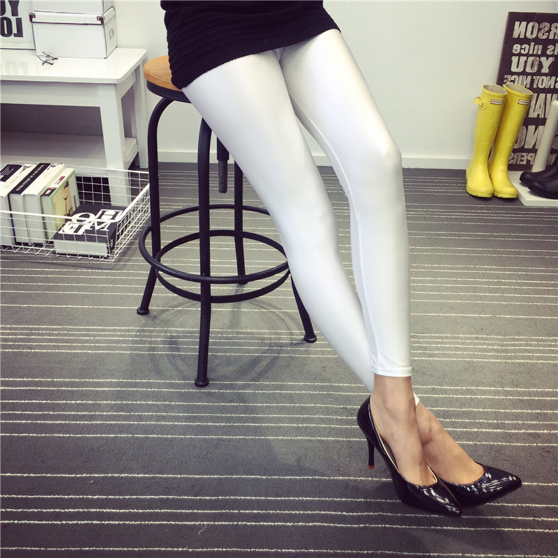 New 8 Colors Solid Women Casual Fluorescent Leggings Plus Size Women Sexy Legging Multicolor Shiny Glossy  Female Elastic Pant