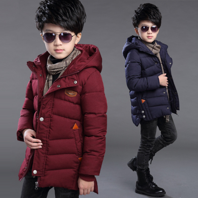 2016 New Boys Cotton-Padded Parkas,Thick Children Jacket For Boys, Long Coat Kids,Winter Clothes Boys,Red/Blue,Height 110-160cm