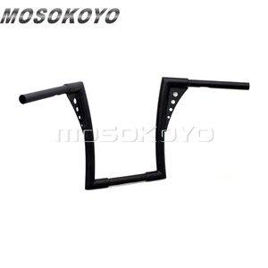 "Image 3 - Motorcycle Black APE Hanger Handlebars 12"" Rise Drag Fat Bar 30.5"" Wide for Harley Softail FLST FXST Sportster XL Touring"