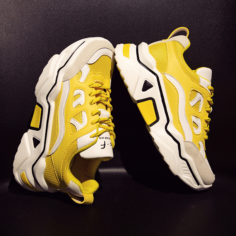 Yellow Chunky Sneakers Women Fashion Women Sneakers 2019 New Platform Sneakers Ladies Dad Sneakers Basket femme Sneakers Women