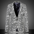 Мужчины Шерстяные Пиджаки 2016 Новый Осенняя Мода Жаккардовые Плюс Размер М-6XL Вскользь Уменьшают Камвольно Бизнес Платье Пиджак 13M0137