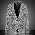 Los hombres de Lana Chaquetas 2016 Nueva Moda de Otoño Jacquard Más El Tamaño M-6XL Chaqueta Ocasional Delgada Peinada Traje de Vestir de Negocios 13M0137