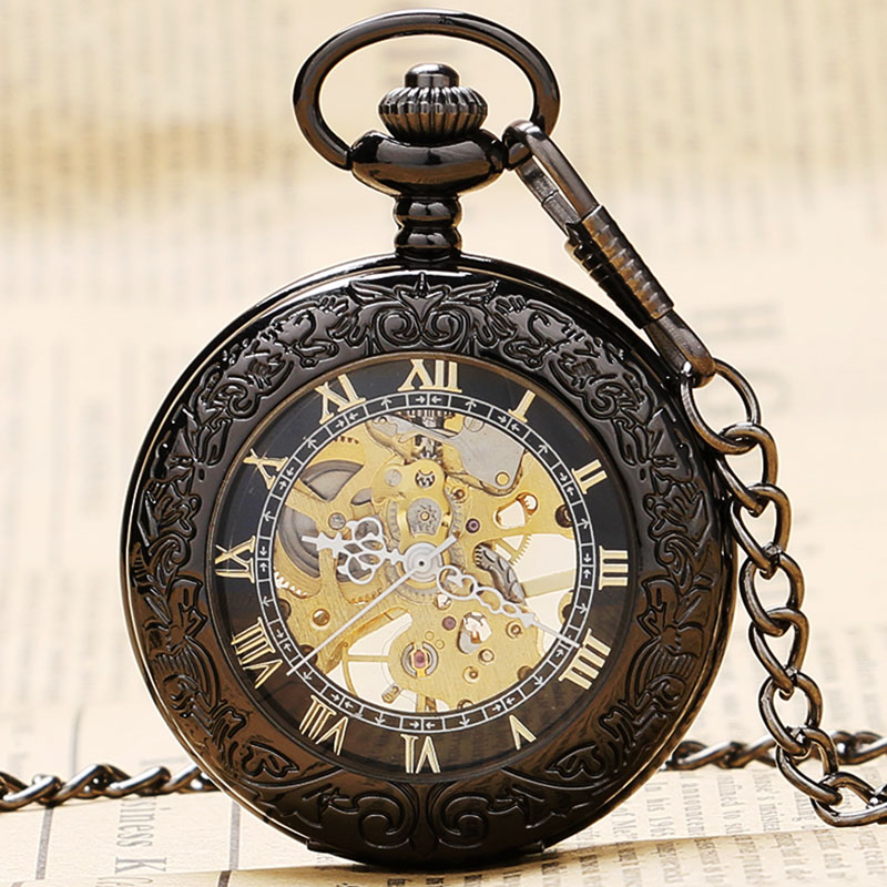 New Arrival Retro Pattren Frame Case With Glass Case Design Black Roman Number Skeleton Mechanical Pocket Watch To Men Women