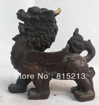bi00342 Art EXQUISITE CHINESE BRONZE STATUE:lion