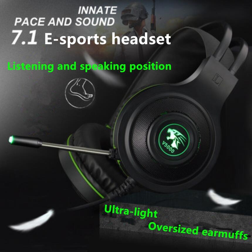 V5000 7.1 canal casque de jeu d'ordinateur tête montée réduction du bruit casque de jeu d'ordinateur avec microphone USB/3.5mm