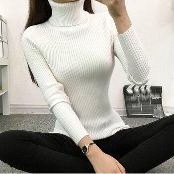 Bigsweety Frauen Solide Winter Warm Gestrickte Pullover Neue Rollkragen Lange Ärmel Stricken Pullover Mujer Elegante Pullover Für Dame