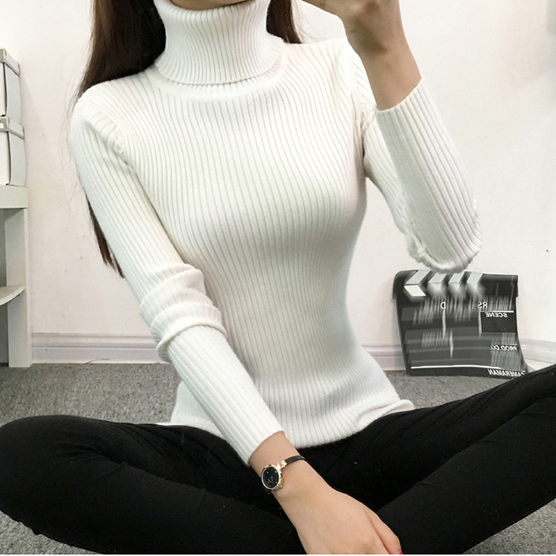 Bigsweety Women Solid Winter Warm Knitted Sweater New Turtleneck Long Sleeve Knit Sweater Mujer Elegant Sweater For Lady