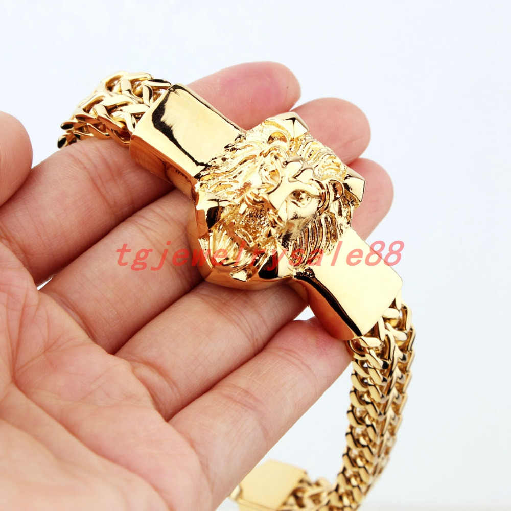 High Quality Gold Figaro Rolo Chain With Stainless Steel Lion Head Bracelet Fashion Men's Cuff Jewelry 15mm*8.66""
