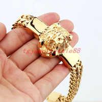"""Alta qualidade ouro figaro rolo corrente com cabeça de leão aço inoxidável pulseira moda masculino manguito jóias 15mm * 8.66"""""""