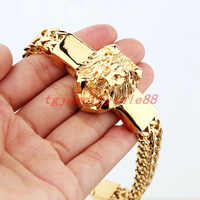 "Hohe Qualität Gold Figaro Rolo Kette Mit Edelstahl Lion Kopf Armband Mode männer Manschette Schmuck 15mm * 8,66"""