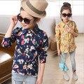 Envío gratis 2016 nueva moda blusa de flores ropa Adolescentes camisetas para las niñas de manga larga de la camiseta de las tapas de 5-14 años escuela