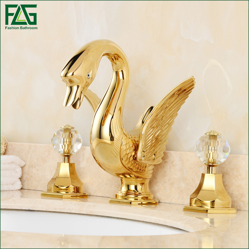 FLG Widespread Golden Plated Soild Brass Bathroom Basin Faucet Animal Swan Faucet Dual Crystal