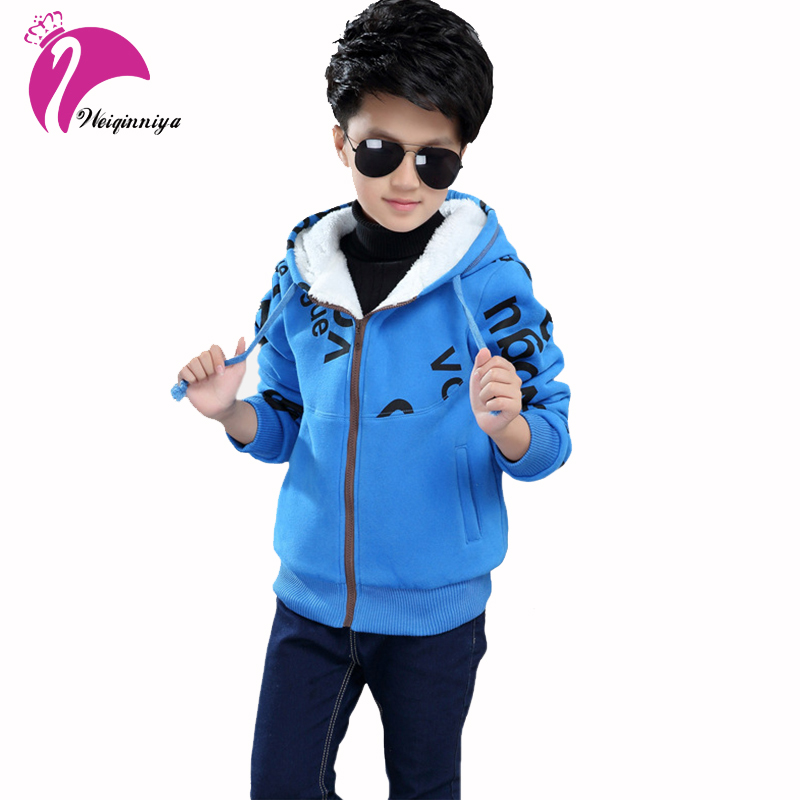 Children Outerwear Winter Boys Hoodies Sweatshirt Kids Thick Fleece Hooded Jacket Teenager Casual Warm Letter Coat Baby Clothes 2016 winter boys wadded jacket kids hooded spider printed thick fleece red blue coat toddler warm outwear children clothes 2 4t