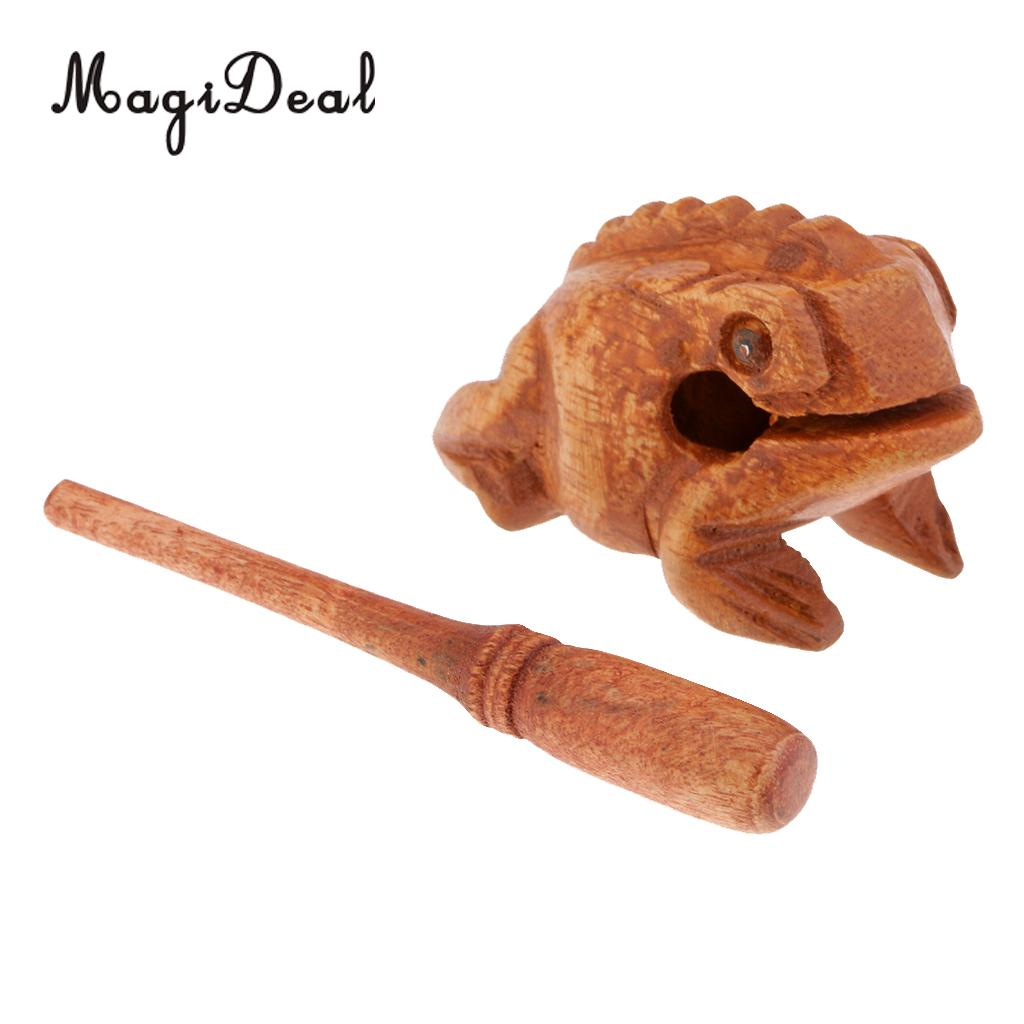 Traditional Craft Wood Luck Frog Home Office Decor Art Figurines Ornament Children Kids Musical Toys-6cm