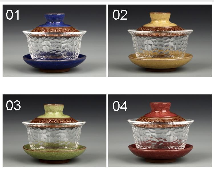 Glass gai wan teaset China kungfu Tea Sets Dehua gaiwan tea porcelain teapot tea set for