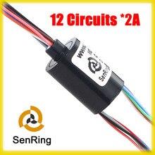 U tipo sem flange comprimento 18.2mm de cápsula anel Deslizante rotativo OD 12.5mm 12 circuitos de sinal/2A atual