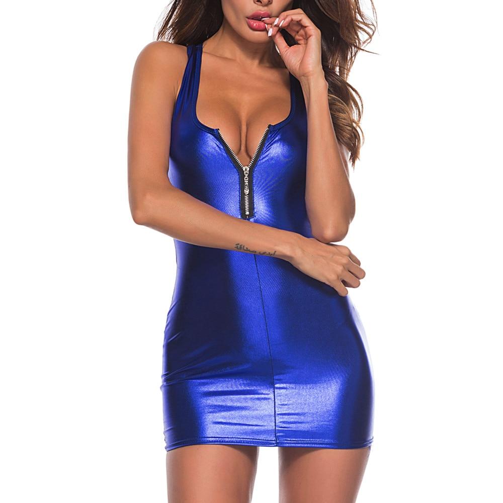 Women Dress Womens Clothing Artificial Leather Bodysuit Zipper Mini Dress Ladies Tank V Neck Club WeaBodycon Innrech Market.com