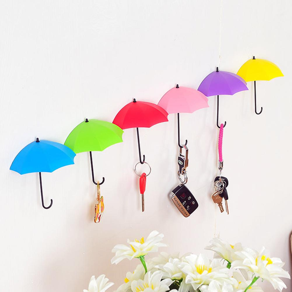 3pcs Loaded Umbrella Shape Colorful Hook Free Punching Creative Umbrella Shape Home Decoration Hook Simple Wall Hanging(China)