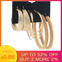 SHUANGR 3 Pairs/Set Classic Oversize Gold Color Metal Hoop Earrings Set Mix For Women Round Big Circle Earring Statement Jewelry