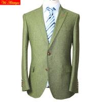 VA 2017 fall winter men's slim fit tweed wool business wedding suits tailor made bespoke suit set heavy army green tweed blazer