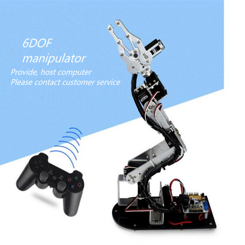 6 DOF Alloy Robot Arm Clamp Claw Turntable Base & 6 Servo Complete sets Arduino metal circular rotating base camera photography turntable for standard servo f17314
